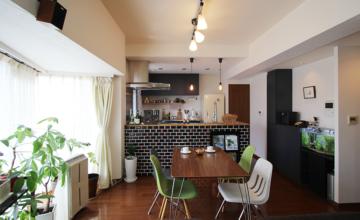 愛知県 大府市 マンションリノベーション|キッチンだけを部分リノベ!対面式で人が集まる広々LDK