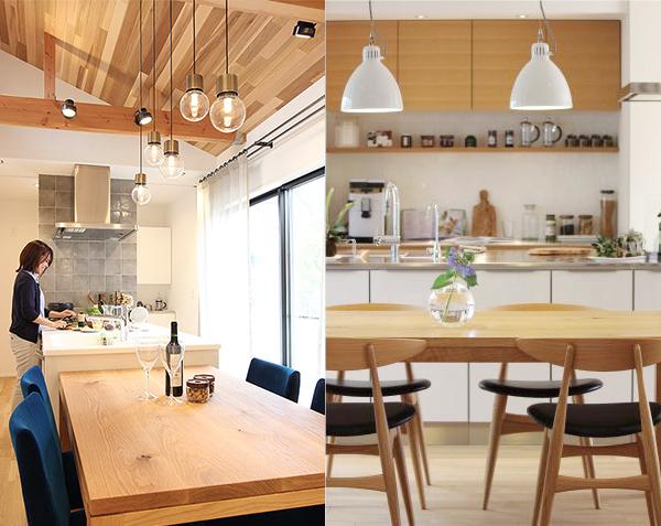 いろいろなキッチン照明。高さに変化をつけたり、スポットライトを併設するなど工夫のし甲斐があります。
