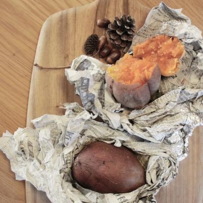 薪ストーブで焼いた安納芋の焼いも!甘くて美味しい!