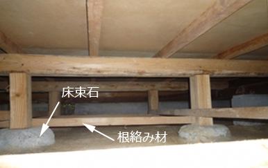 床下の写真。床束石と根絡み材。