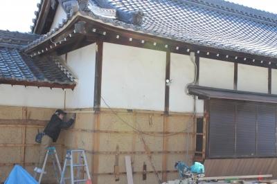 東郷町の神社 工事の様子