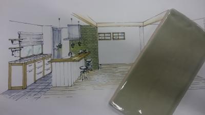 キッチン横のオリーブ色のタイル