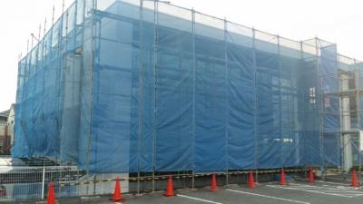 外壁塗装のための足場組立  東郷町