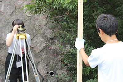 東郷中学校 職場体験学習 測量