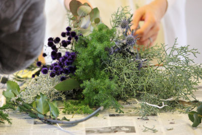 フラワーイベント「スワッグ レッスン」使用した花々