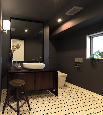 デザインにこだわった洗面所