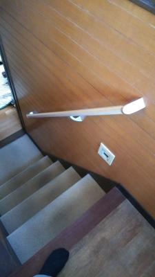 中二階への階段(手摺取り付け後)