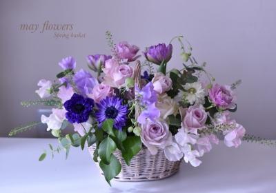 アレンジメント教室:スプリングバスケット(mayflowers)