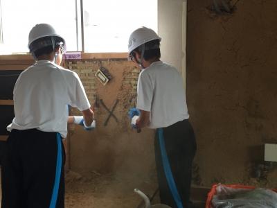 中学生の職場体験:内壁解体