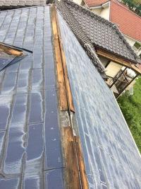 台風被害で屋根の一部が破損