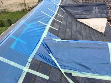 台風被害の屋根を応急処置