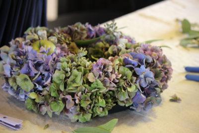 秋色紫陽花リース