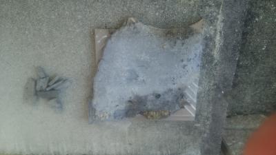 玄関ポーチ、剥がれたタイル