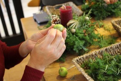 「クリスマスキャンドルアレンジ」づくり教室