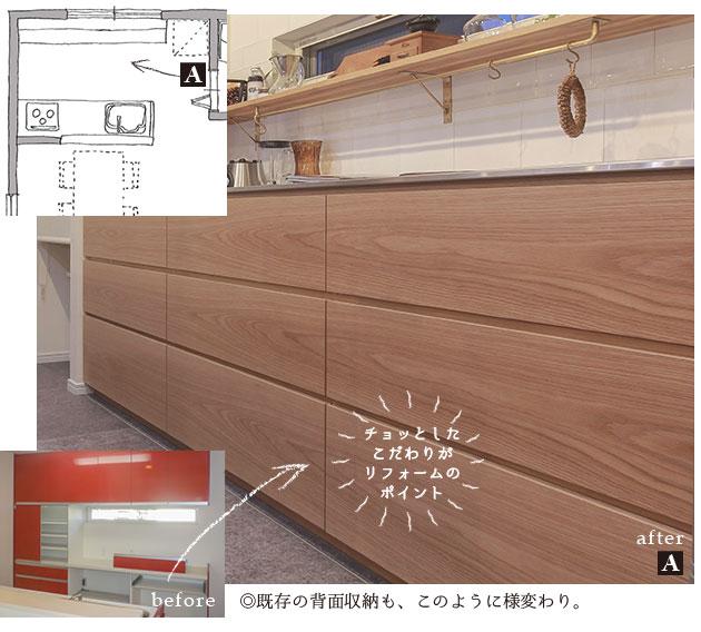 既存のキッチンや背面収納が生まれ変わる。キッチン リフォーム