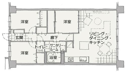 名古屋市マンション リノベーション。平面図:after