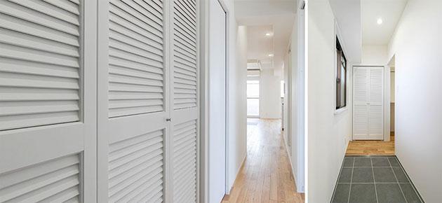 デザイン性と機能性を兼ね備えたルーバー扉の収納スペース