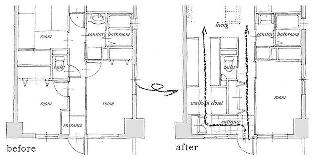 玄関からリビングへの動線を2つにして生活動線を改善