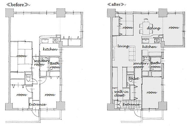 名古屋市のリノベーション。施工前と施工後の平面図。