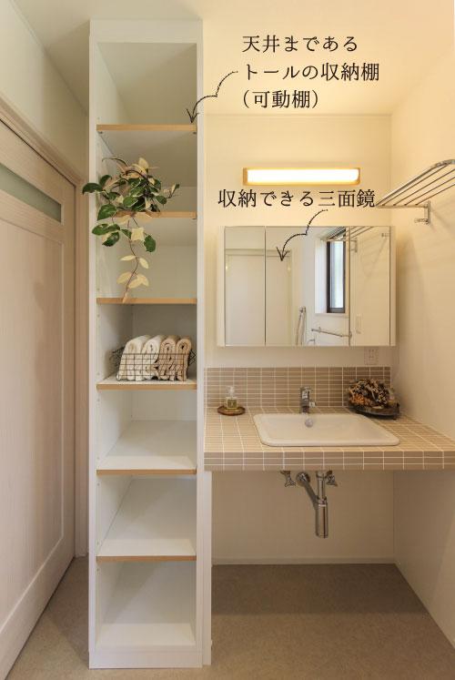 東郷町のリノベーション:サニタリールーム(機能美・清潔性を兼ね備えた洗面室)