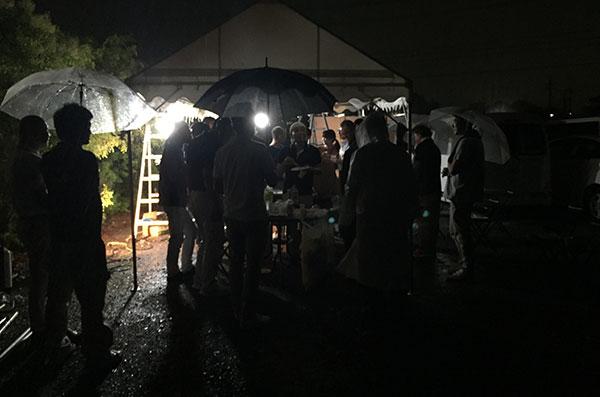 2019年7月の定例会後。雨の中でバーベキュー