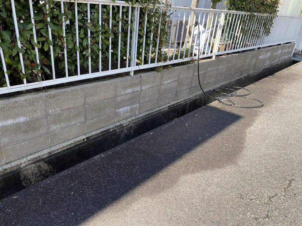 ブロック塀の高圧洗浄
