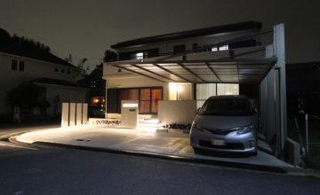 愛知県 日進市 外構 リノベーション|夜景にもこだわりを。無機質モダンなエクステリア