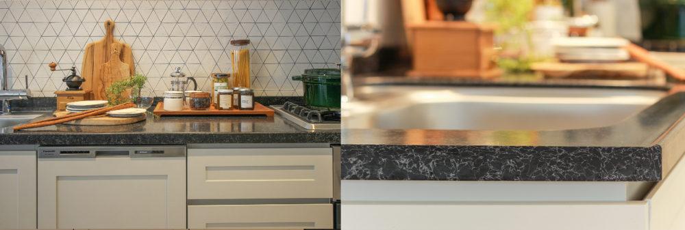 キッチンのワークトップには人工大理石をセレクト