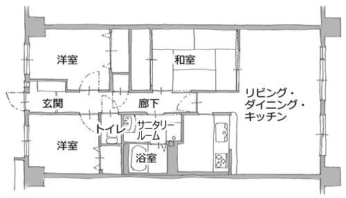 名古屋市マンション リノベーション。平面図:before